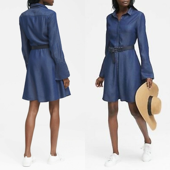 Banana Republic Dresses & Skirts - Banana Republic 14 blue denim look swing dress